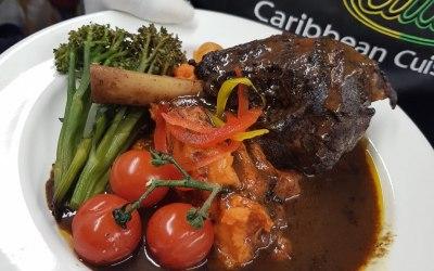 Lamb Shank, Sweet Potato Mash, Seasonal Veg with Sorel Jus