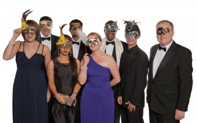 Group photo at Masked Ball for Institute of Hospitality London Branch