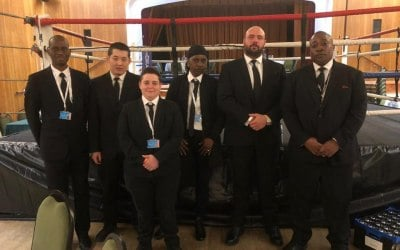 Our team at a White Collar Boxing Event
