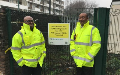Two of our Static Guards on a site in Vauxhall