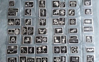 Large variety of glitter tattoo designs