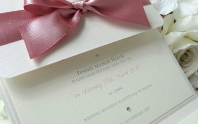 Evie Bow pocketfold invitation