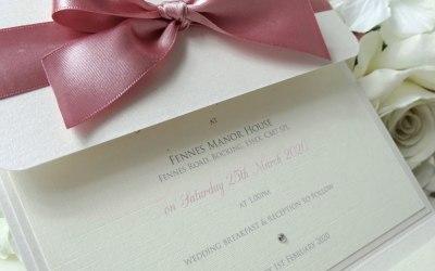 Evie Bow pocketfold invitation