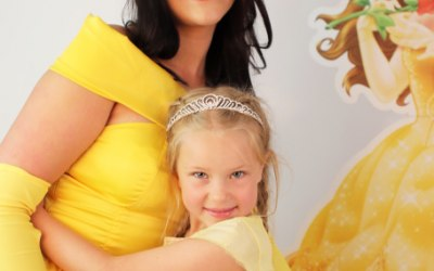 Princess belle creating magic at parties