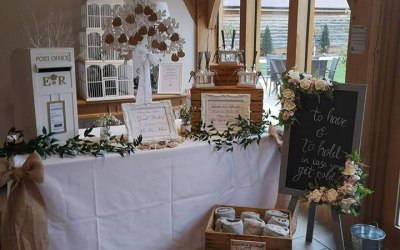 A small selection in the picture of other wedding items which can be hired. Blanket, sparkler and post box station.
