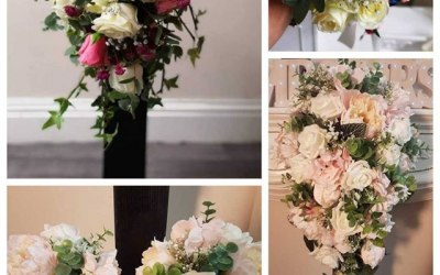Floral Bouquets from silk to fresh for the bridal party or to dress a room. These are custom made to your theme and prices vary depending on flowers that are in season.
