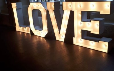 Led Love and Mr & Mrs letters are available in white or if your going for a rustic theme these to can be hired from £75