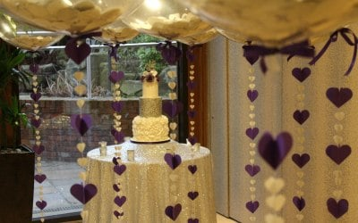 Wedding confetti balloons at Moddershall Oaks - Stone, Staffordshire