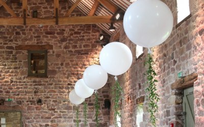 Giant wedding balloons at The Ashes Endon, Staffordshire
