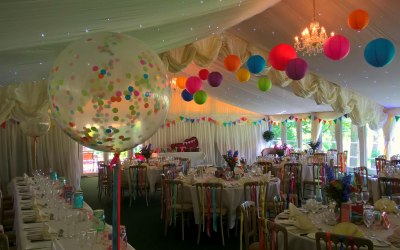 Giant confetti balloons at The Old School House near Lichfield