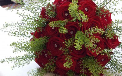 Bride Bouquet with Red Naomi Roses and Diamonds