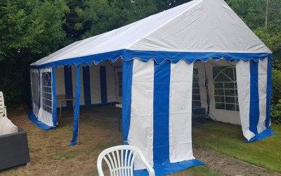 Blue & White Marquee hire 4x8m