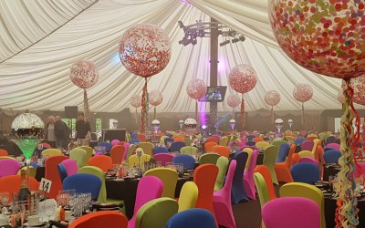 3ft confetti filled balloons for Worcestershire Ball