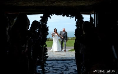 Walking down the aisle at Ocean Kave