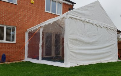 4m by 4m marquee attached to your house
