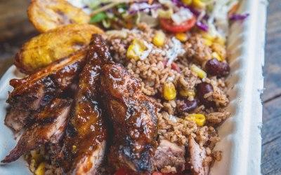 Jerk Chicken  Biriyardi - our take on the classic Indian biriyani with a Rice & Peas, Plantain & Sweetcorn