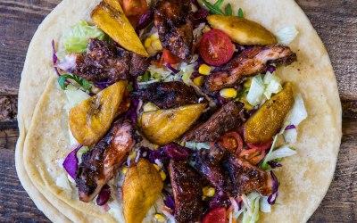 Jerk Chicken & Plantain Roti Wrap