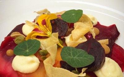 Tie-dye Beets, Parsnip Puree & Crisp, Capers, Nasturtium & Sherry Dressing. Vegan Plated Starter.