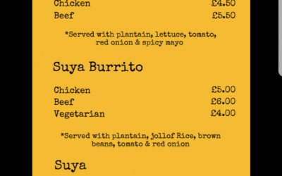 Our street food menu
