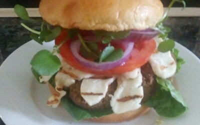 Falafel and halloumi burger