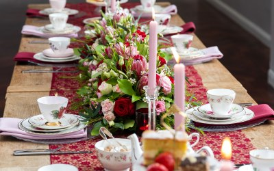 Pink and Burgundy styled Afternoon Tea