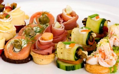 Selection of delicious canapes.
