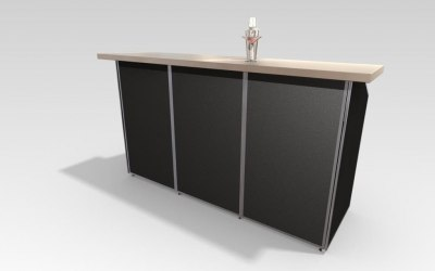 2m Events Bar, standard black cladding