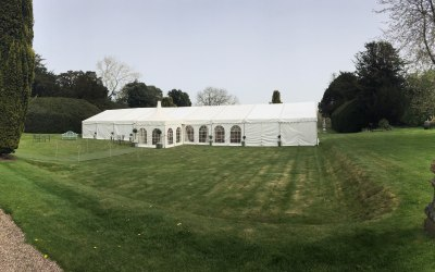 Clearspan marquee with entrance pagoda