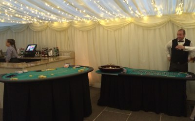 Roulette and Blackjack in a marquee