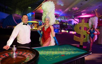 Roulette table and Showgirl