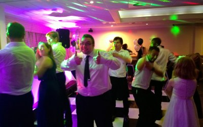 Thumbs up at a corporate event