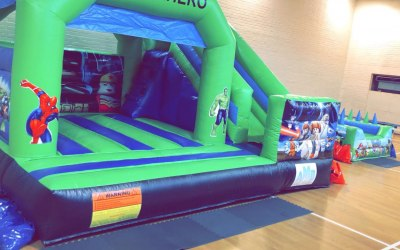 Superhero castle with slide