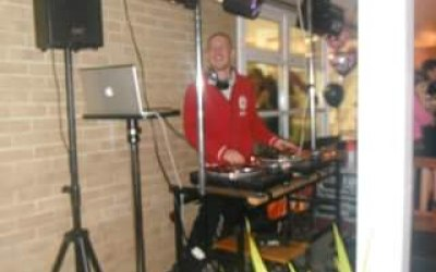 Mobile DJ setup for a 21st birthday party.