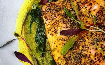 Lerato Salmon & Spiced Pea Puree