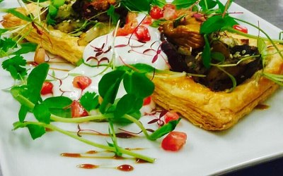 Smoked aubergine and fig vol-au-vent with lime and cardoman yogurt
