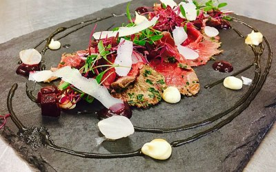 Venison carpaccio with cubed beetroot and parsnip pure