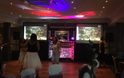 2 2 x 6ft x4ft Video Screens + DJ Booth.