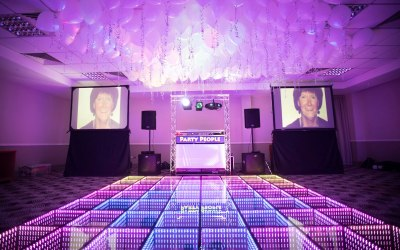 2 x 6ft x4ft Video Screens + DJ Booth.