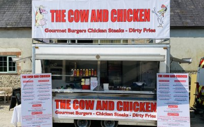 Cow and chicken gourmet burgers