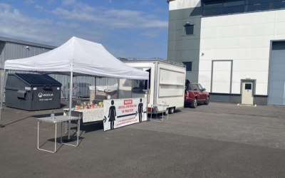 White corporate Catering unit and gazebo
