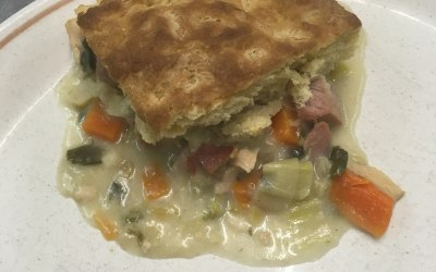 Chicken and ham pie with suet crust pastry