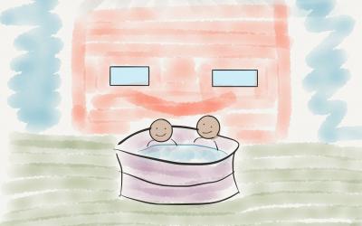 Hot tub = happy house
