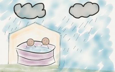 Gazebo hot tub in the rain