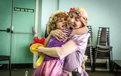 Rapunzel surprises the birthday girl