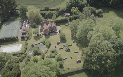 Ariel shot, NERF garden party, Goudhurst. KentT