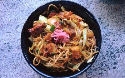 Spicy Pork Belly Yakisoba noodles