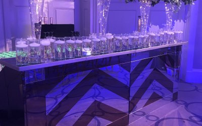 3 Metre Gold & Silver mirrored bar ideal for a wedding.