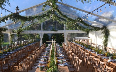Completely clear roof frame marquee