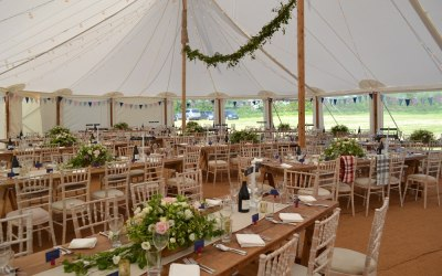 Traditional pole marquee interior