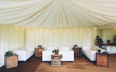 Set up of beautiful white sofas
